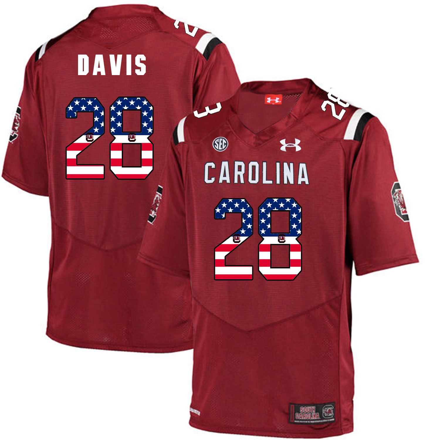 South Carolina Gamecocks 28 Mike Davis Red USA Flag College Football Jersey