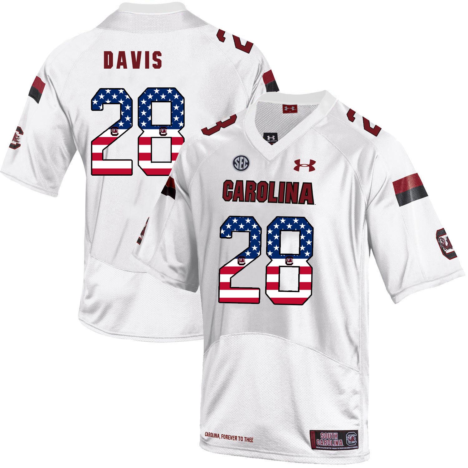 South Carolina Gamecocks 28 Mike Davis White USA Flag College Football Jersey