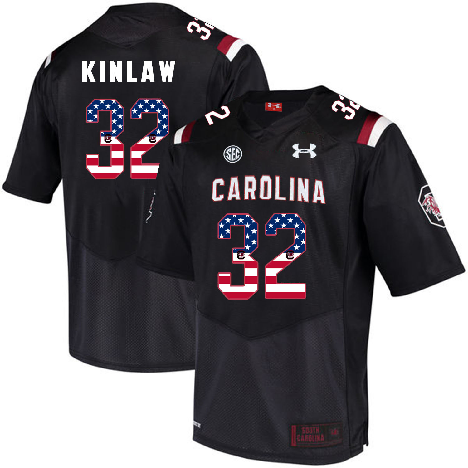 South Carolina Gamecocks 32 Caleb Kinlaw Black USA Flag College Football Jersey