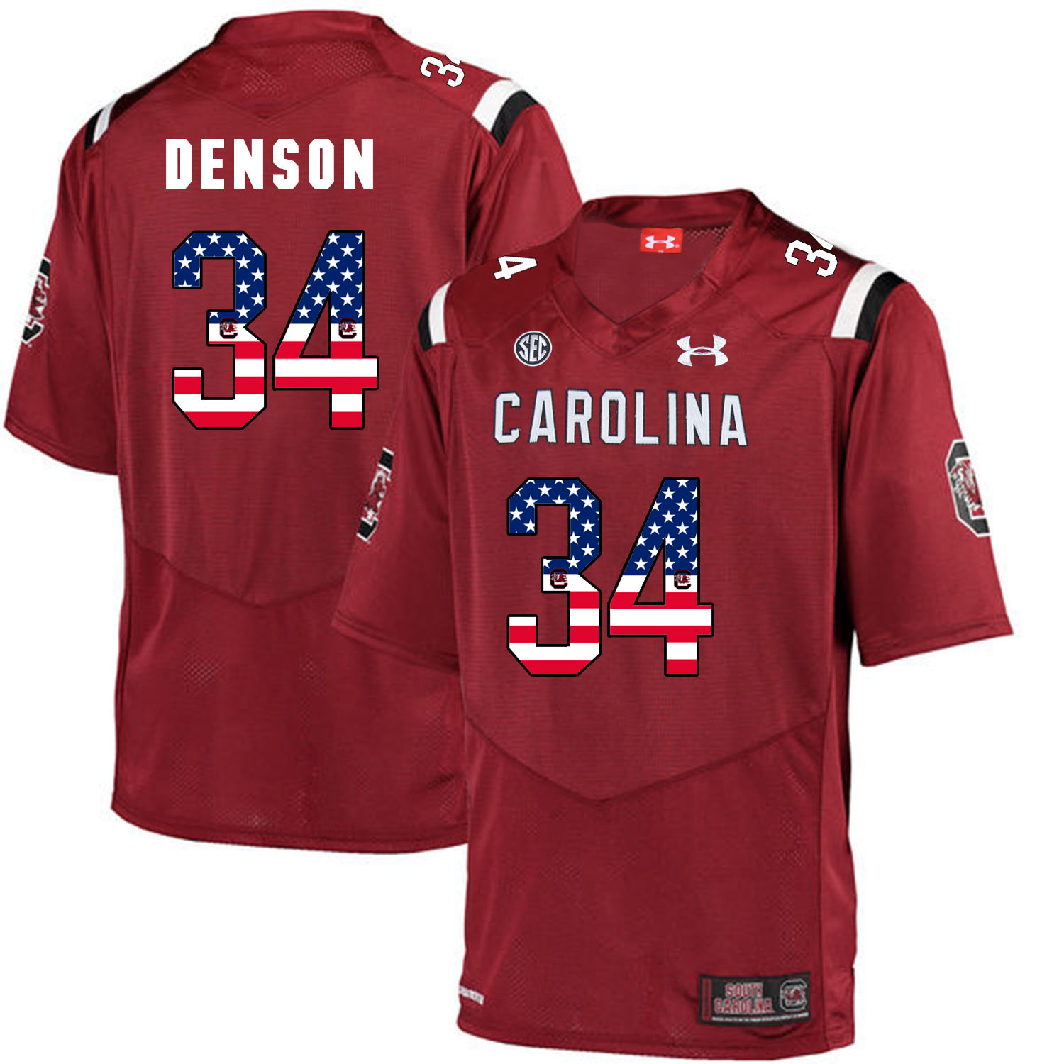 South Carolina Gamecocks 34 Mon Denson Red USA Flag College Football Jersey