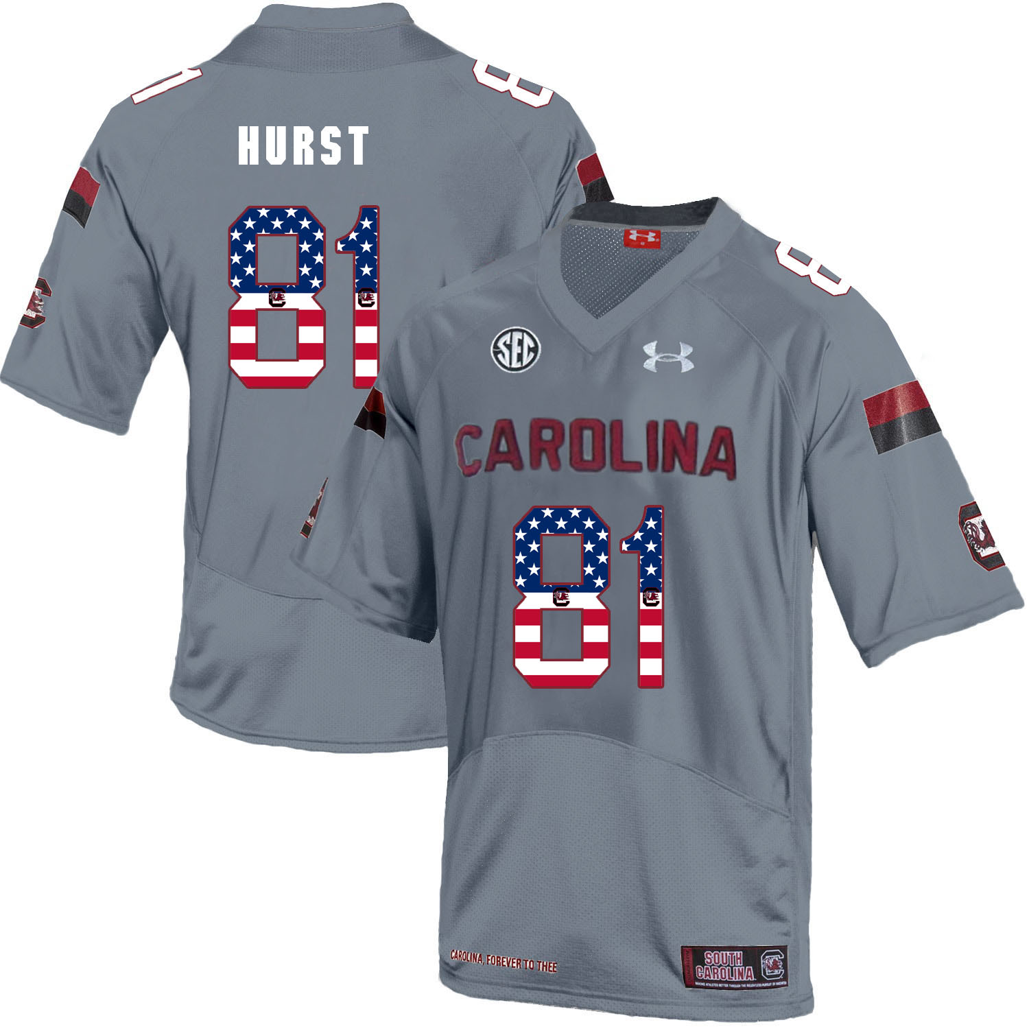 South Carolina Gamecocks 81 Hayden Hurst Gray USA Flag College Football Jersey