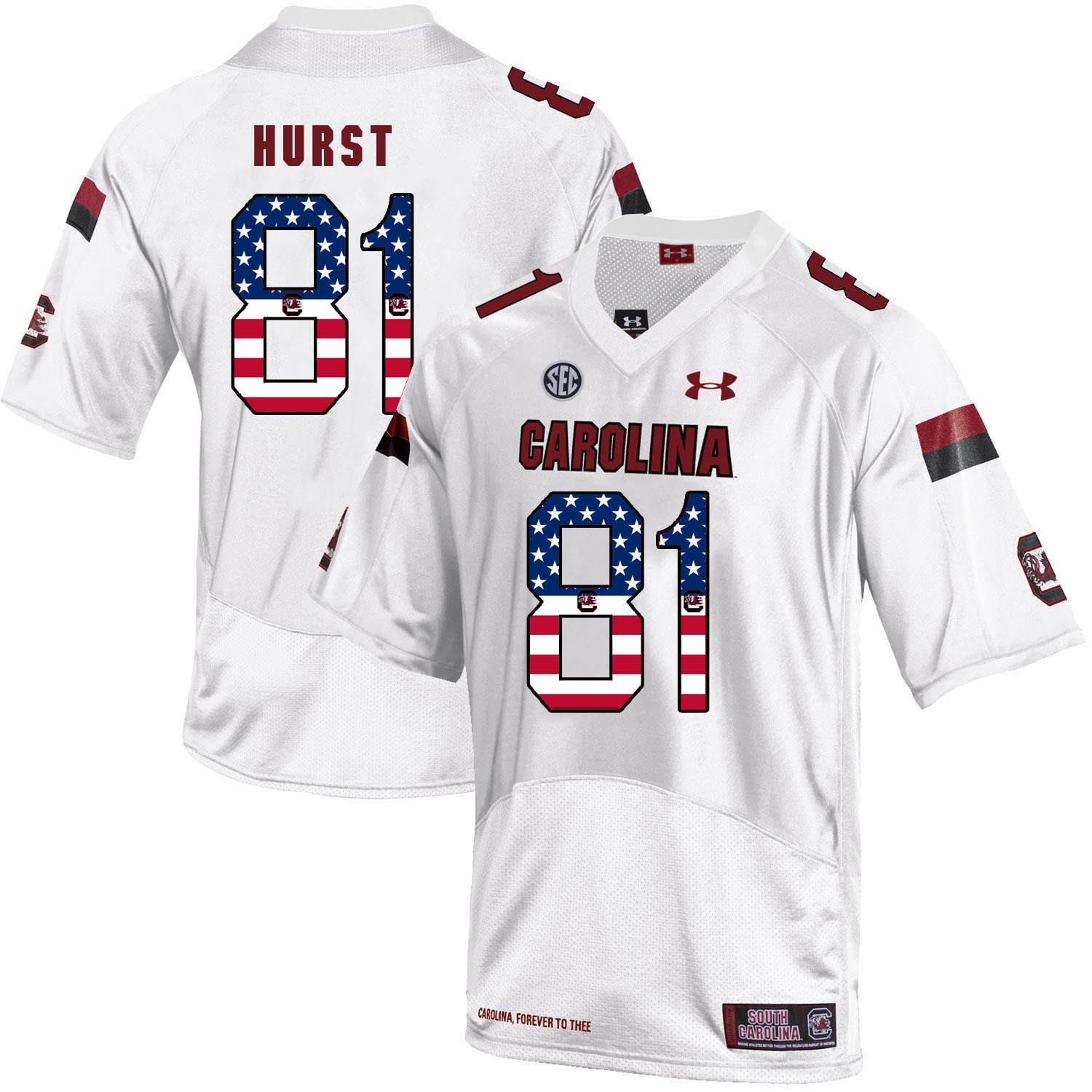 South Carolina Gamecocks 81 Hayden Hurst White USA Flag College Football Jersey