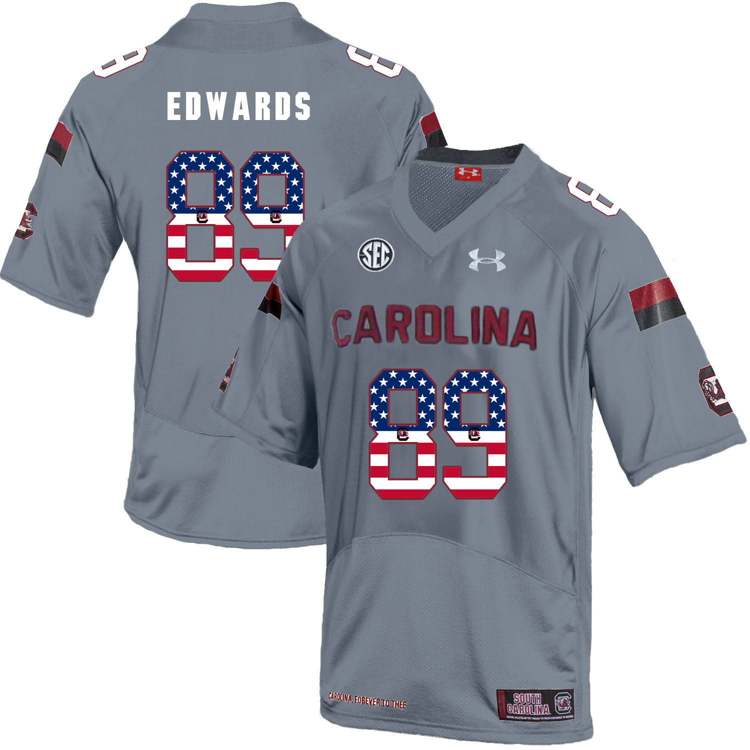 South Carolina Gamecocks 89 Bryan Edwards Gray USA Flag College Football Jersey