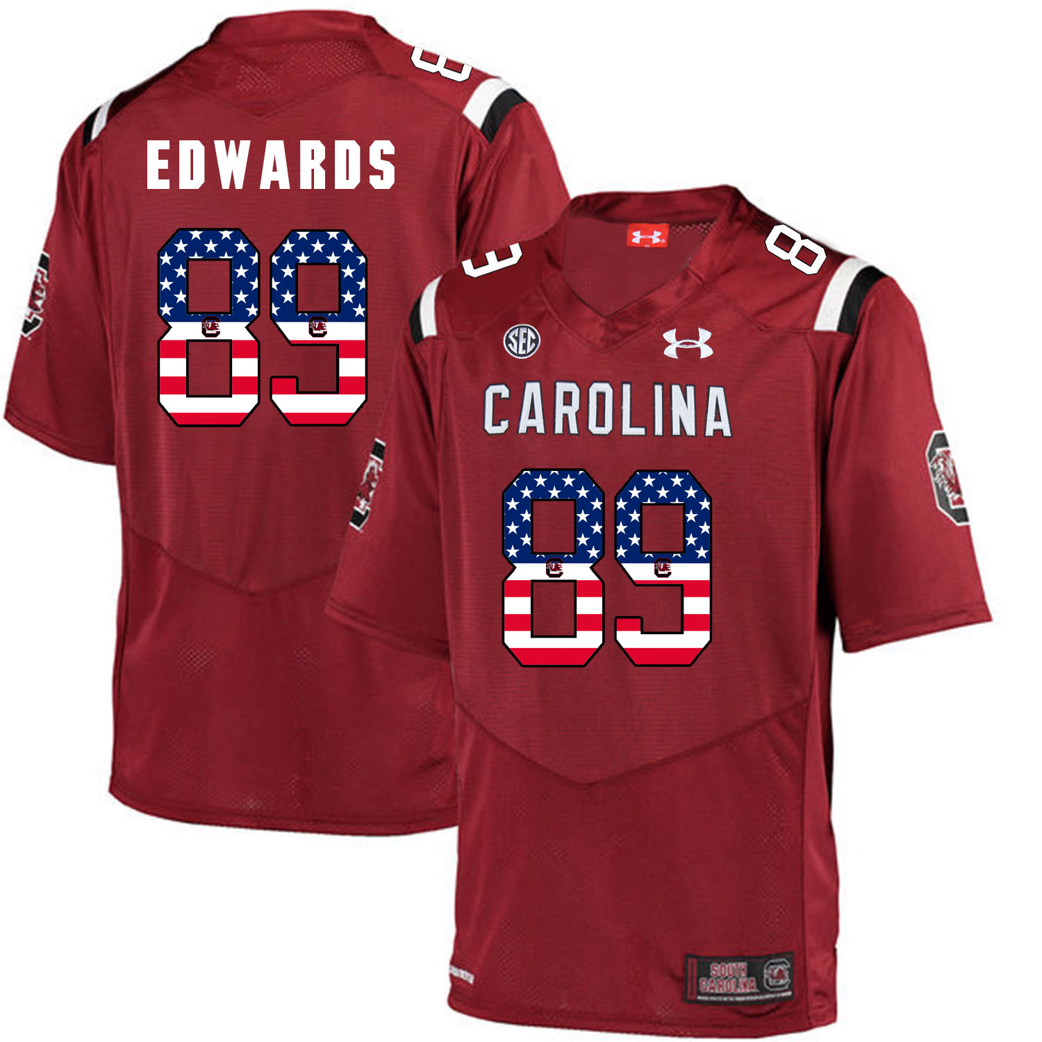 South Carolina Gamecocks 89 Bryan Edwards Red USA Flag College Football Jersey