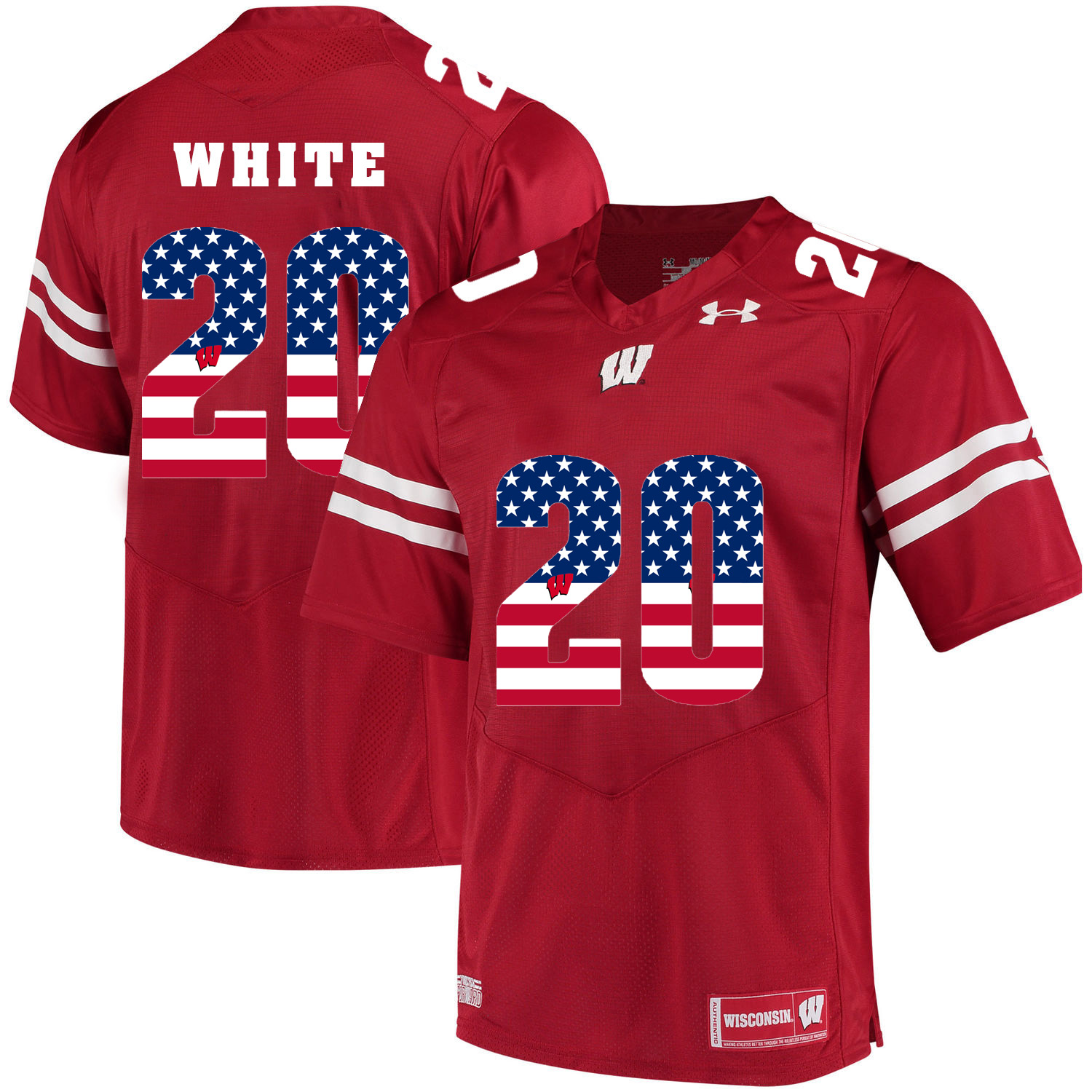 Wisconsin Badgers 20 James Red White USA Flag College Football Jersey