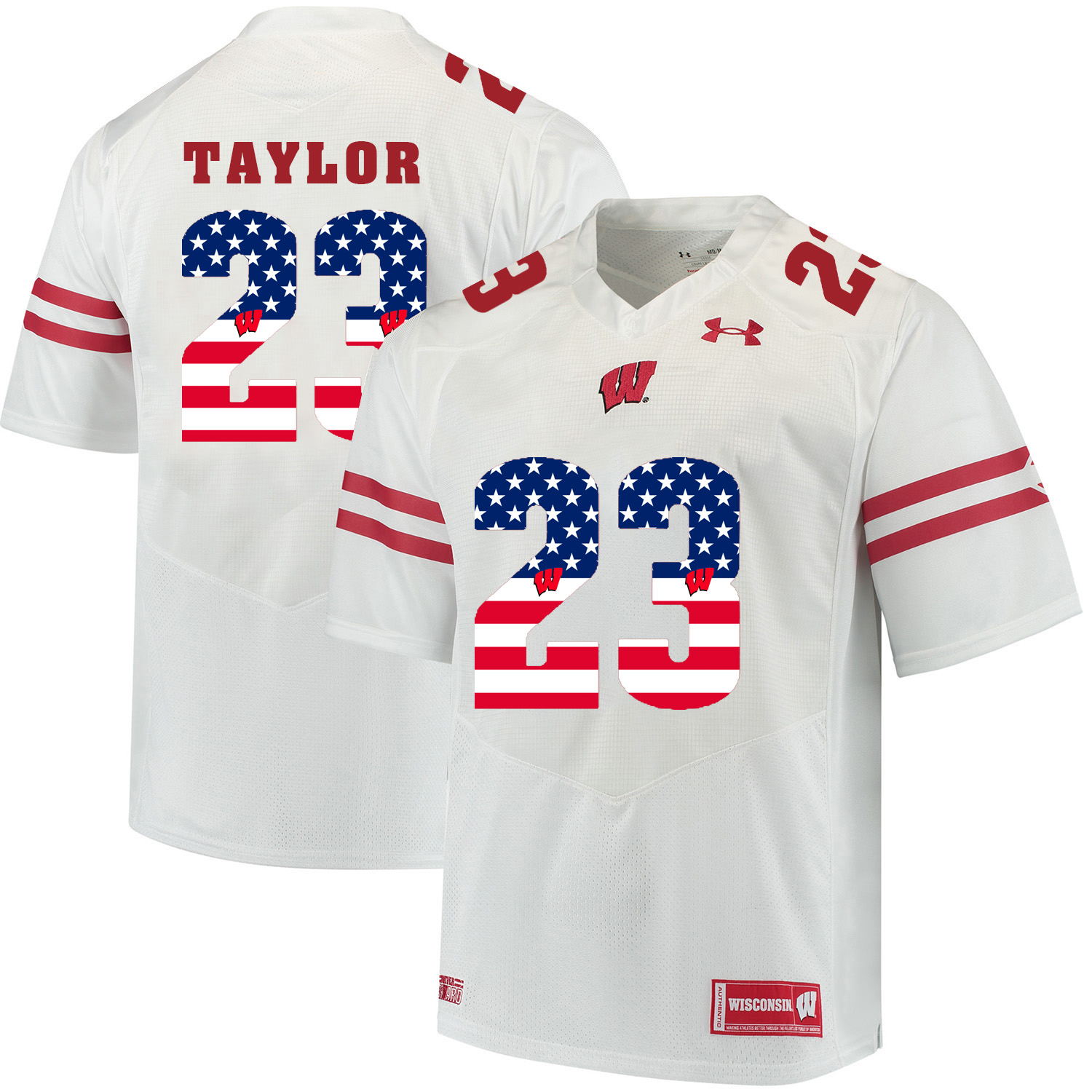 Wisconsin Badgers 23 Jonathan Taylor White USA Flag College Football Jersey