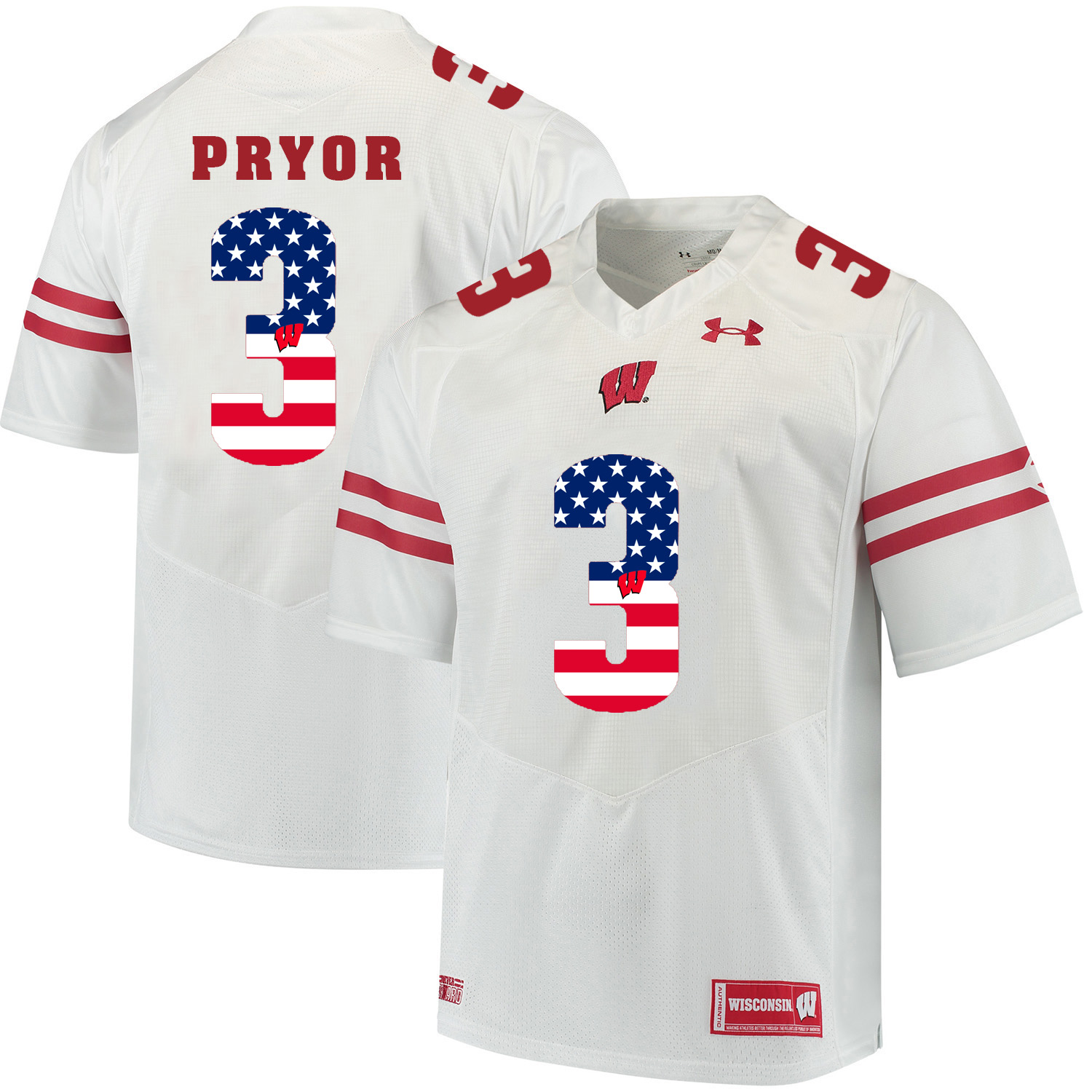 Wisconsin Badgers 3 Kendric Pryor White USA Flag College Football Jersey