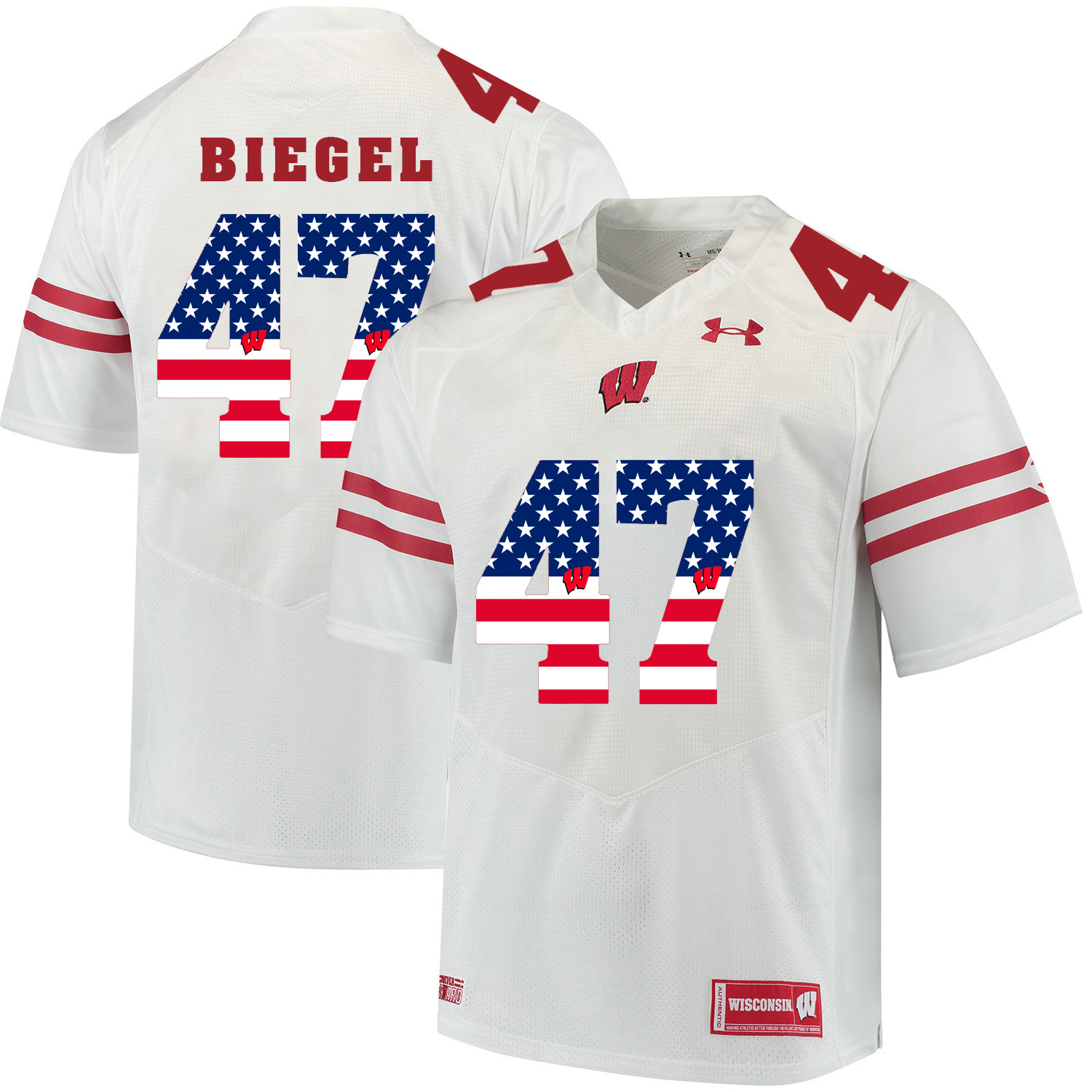 Wisconsin Badgers 47 Vince Biegel White USA Flag College Football Jersey