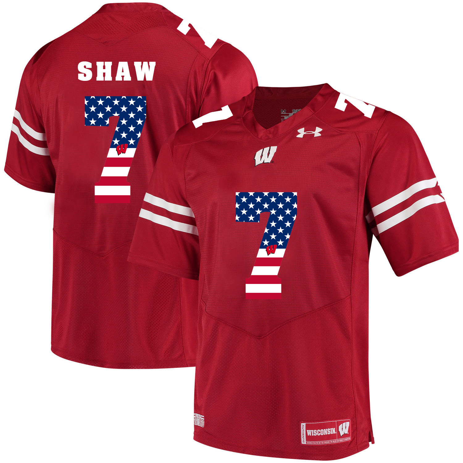 Wisconsin Badgers 7 Bradrick Shaw Red USA Flag College Football Jersey