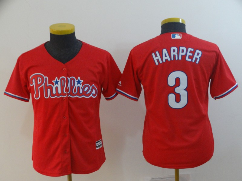 Phillies 3 Bryce Harper Scarlet Youth Cool Base Jersey