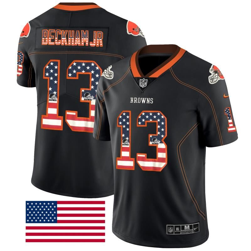 Nike Browns 13 Odell Beckham Jr Black USA Flag Fashion Limited Jersey