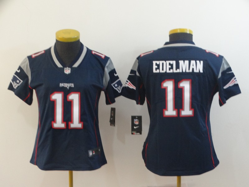 Nike Patriots 11 Julian Edelman Navy Women Vapor Untouchable Limited Jersey