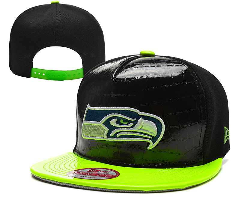 Seahawks Fresh Logo Black Green Leather Adjustable Hat YD