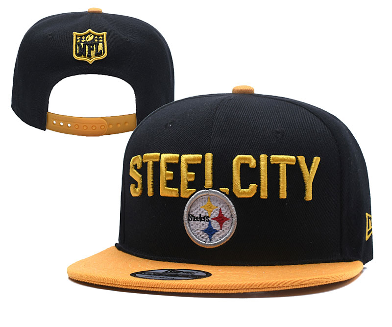 Steelers Fresh Logo Black Adjustable Hat YD