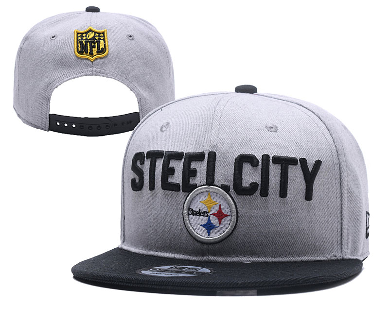 Steelers Fresh Logo Gray Black Adjustable Hat YD