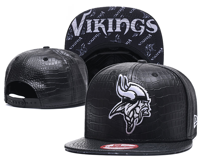 Vikings Team Logo Black Adjustable Hat GS