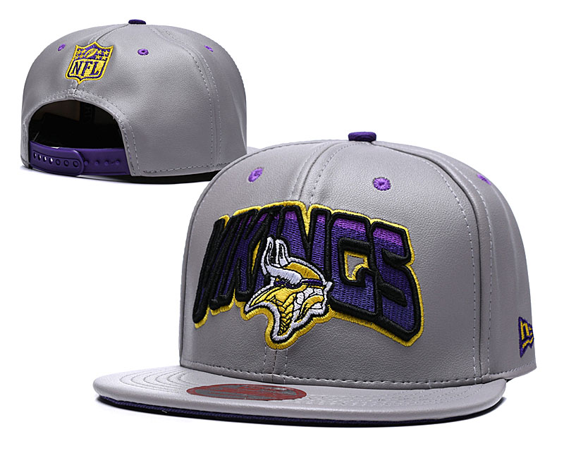 Vikings Team Logo Gray Adjustable Hat TX