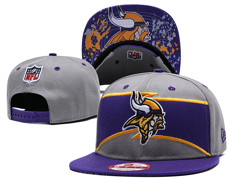 Vikings Team Logo Gray Purple Adjustable Hat GS
