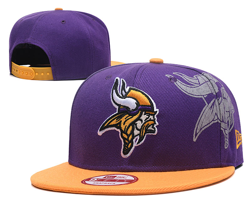 Vikings Team Logo Purple Yellow Adjustable Hat GS