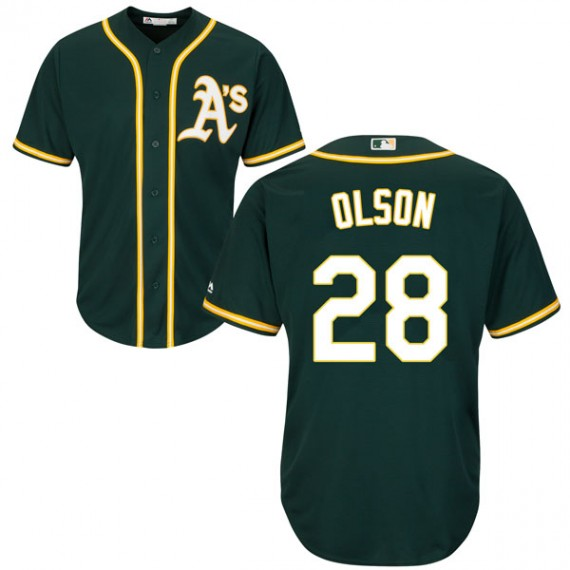 Athletics 28 Matt Olson Green Cool Base Jersey