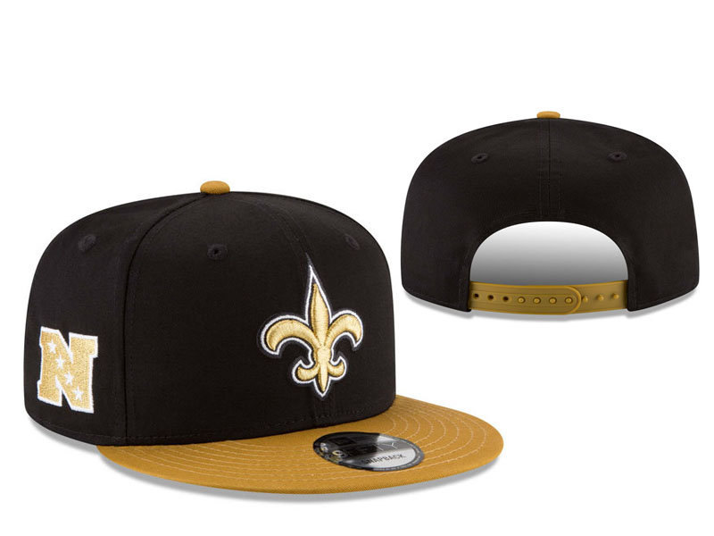 Saints Fresh Logo Black Yellow Adjustable Hat LT