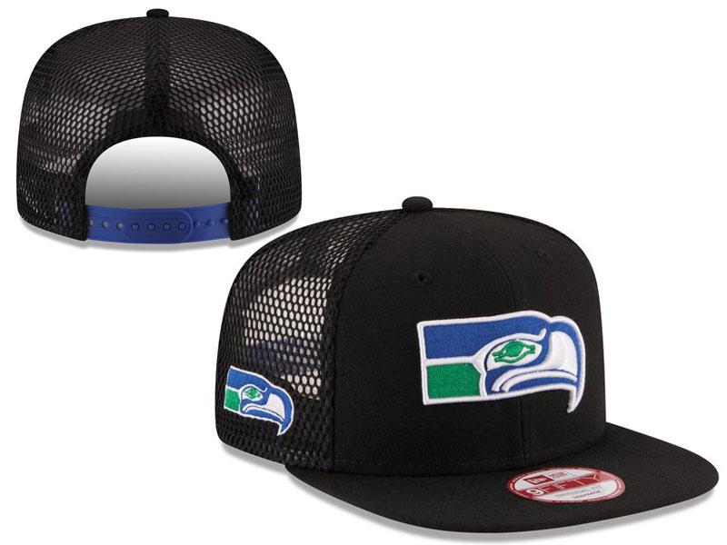 Seahawks Fresh Logo Black Hollow Carved Adjustable Hat LT
