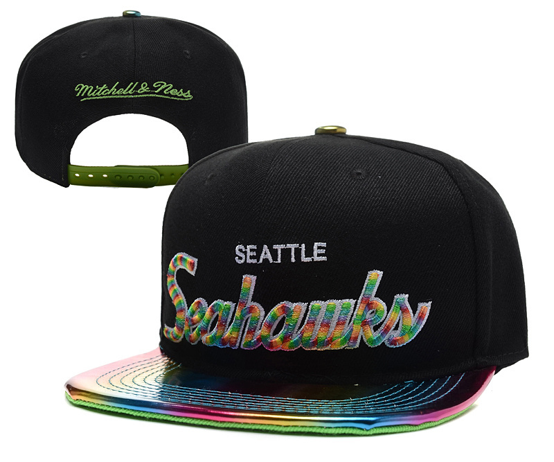 Seahawks Team Logo Black Mitchell & Ness Adjustable Hat YD