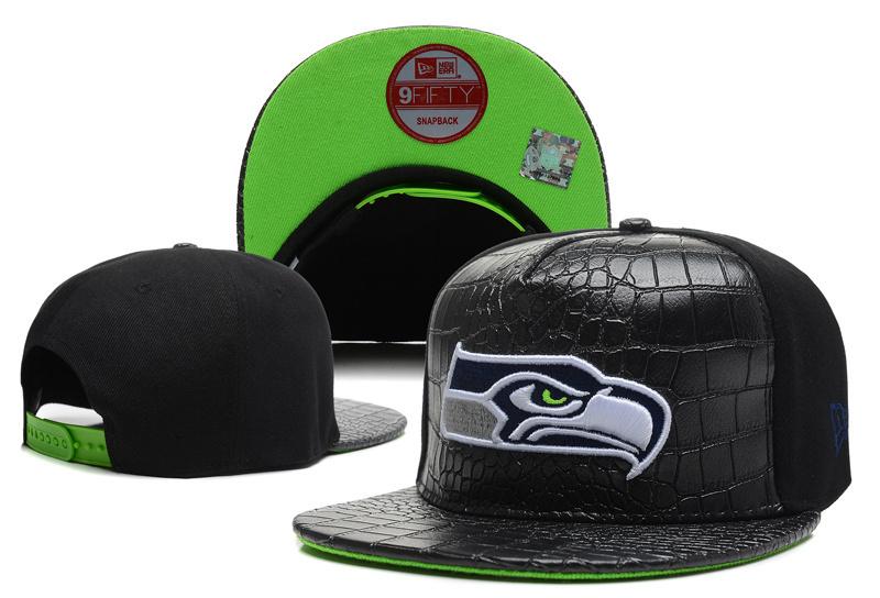 Seahawks Team Logo Black Leather Adjustable Hat LT
