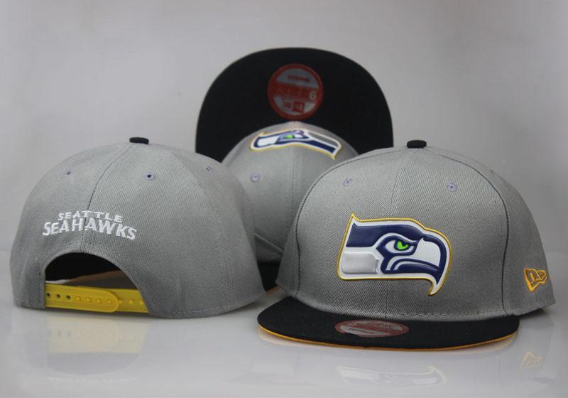 Seahawks Team Logo Gray Black Adjustable Hat LT