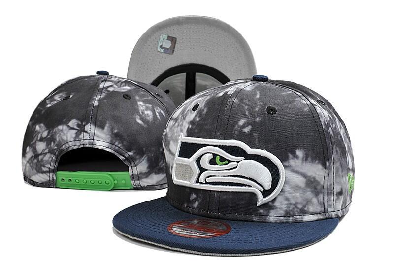 Seahawks Team Logo Gray Black Special Adjustable Hat LT