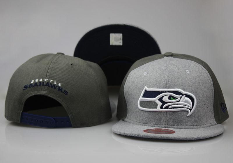 Seahawks Team Logo Gray Olive Adjustable Hat LT