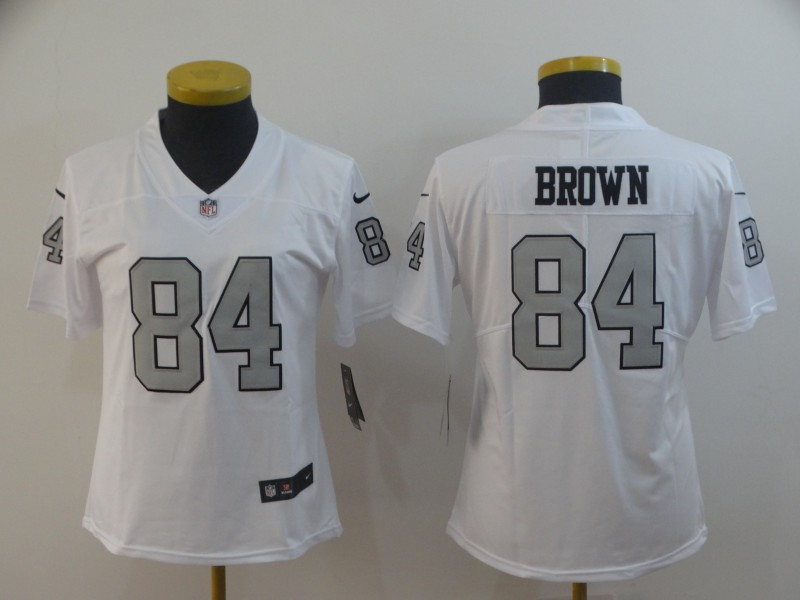 Raiders 84 Antonio Brown White Women Color Rush Limited Jersey