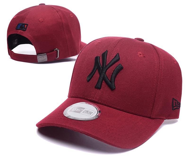 Yankees Team Logo Rose Red Peaked Adjustable Hat TX