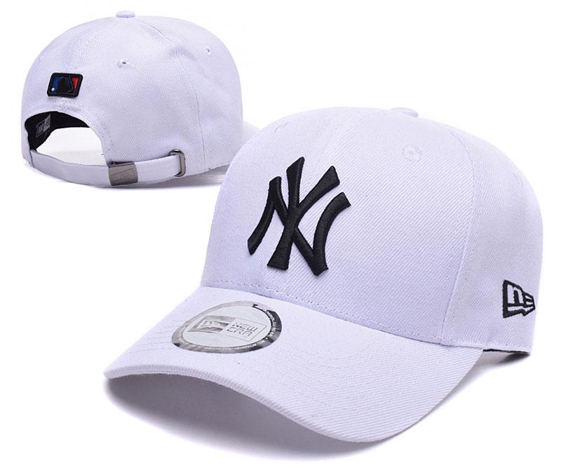 Yankees Team Logo White Peaked Adjustable Hat TX