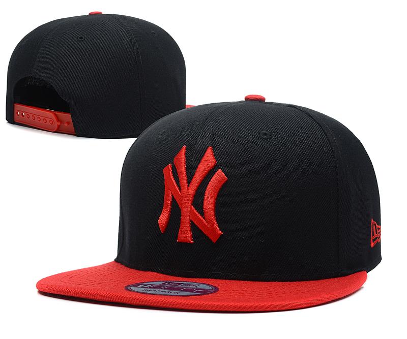 Yankees Team Red Logo Black Adjustable Hat SG