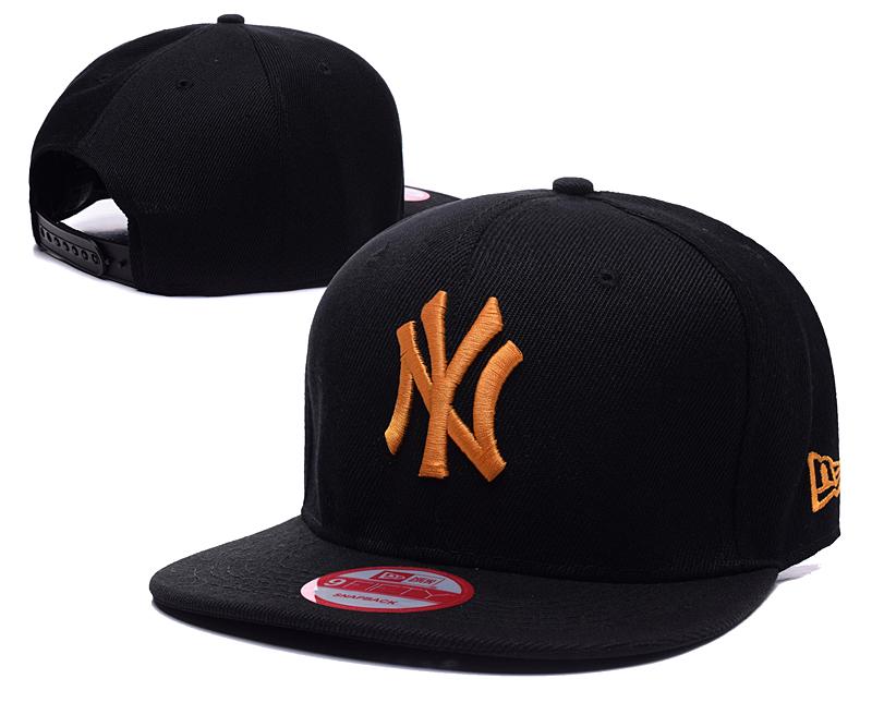 Yankees Team Yellow Logo Black Adjustable Hat SG