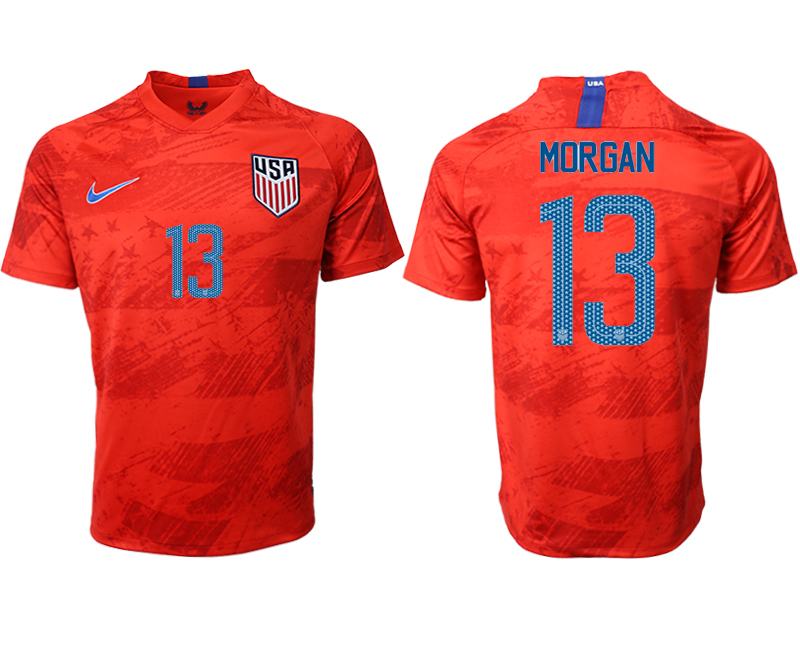 2019-20 USA 13 MORGAN Away Thailand Soccer Jersey