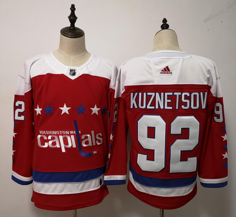Capitals 92 Evgeny Kuznetsov Red Adidas Jersey