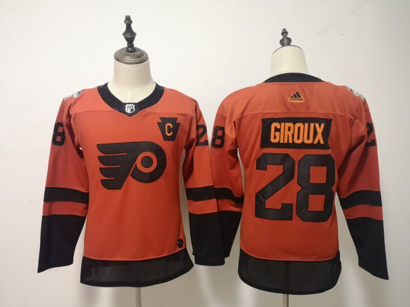Flyers 28 Claude Giroux Orange Women 2019 NHL Stadium Series Adidas Jersey