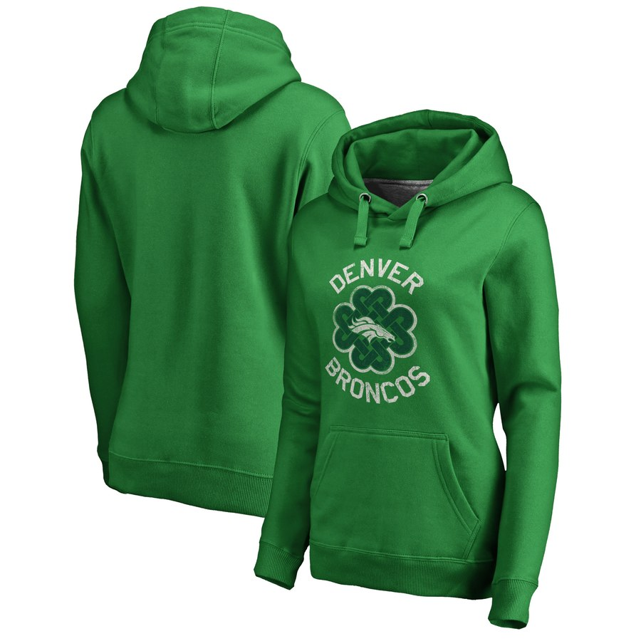 Denver Broncos NFL Pro Line by Fanatics Branded Women's St. Patrick's Day Luck Tradition Pullover Hoodie Kelly Green
