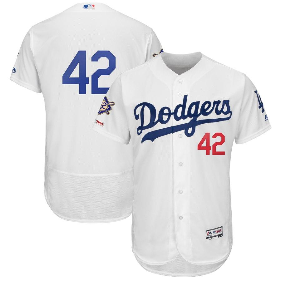 Dodgers 42 Jackie Robinson White 2019 Jackie Robinson Day FlexBase Jersey