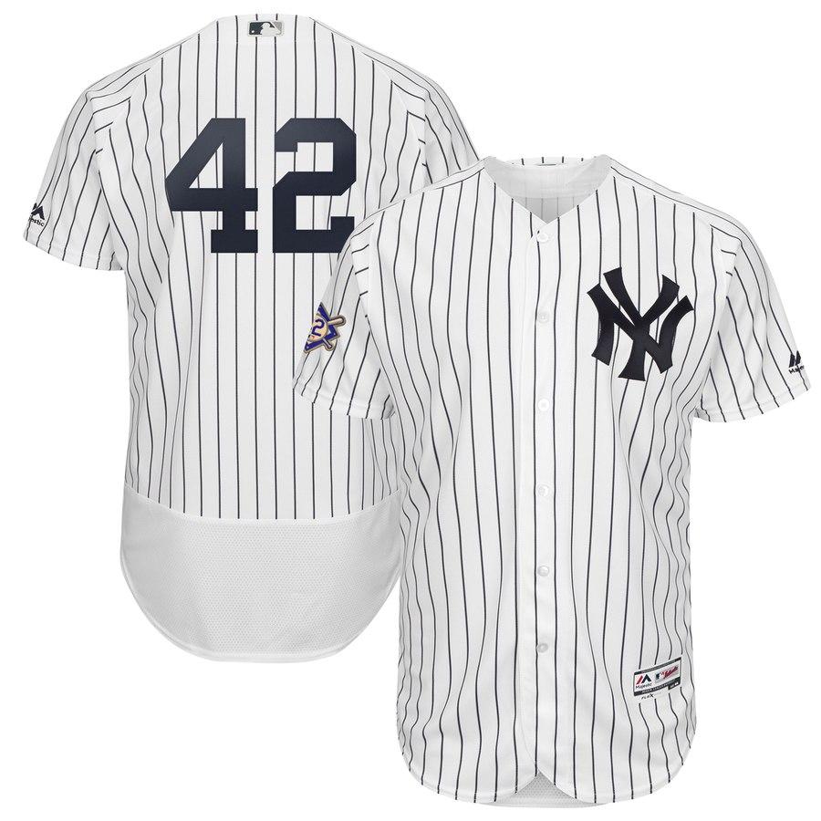 Yankees 42 Mariano Rivera White 2019 Jackie Robinson Day FlexBase Jersey