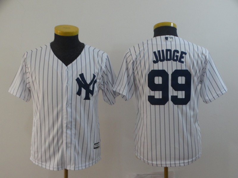 Yankees 99 Aaron Judge White Youth Cool Base Jersey
