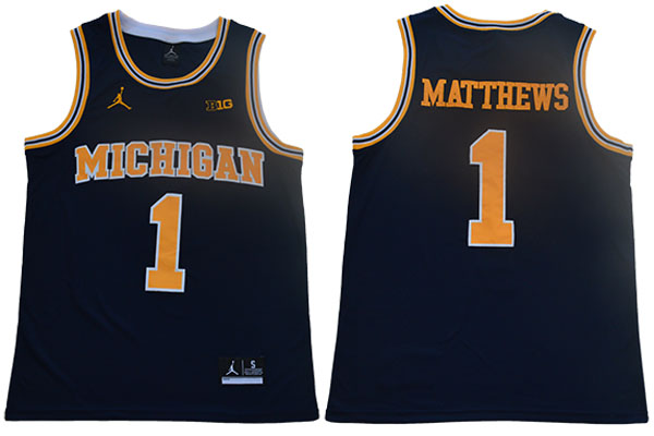 Michigan Wolverines 1 Charles Matthews Navy College Basketball Jersey