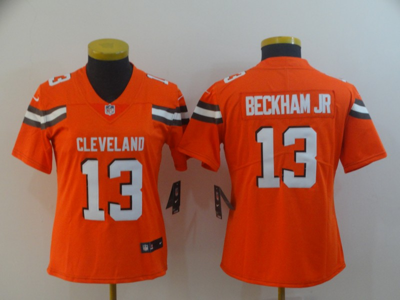 Nike Browns 13 Odell Beckham Jr Orange Women Vapor Untouchable Limited Jersey