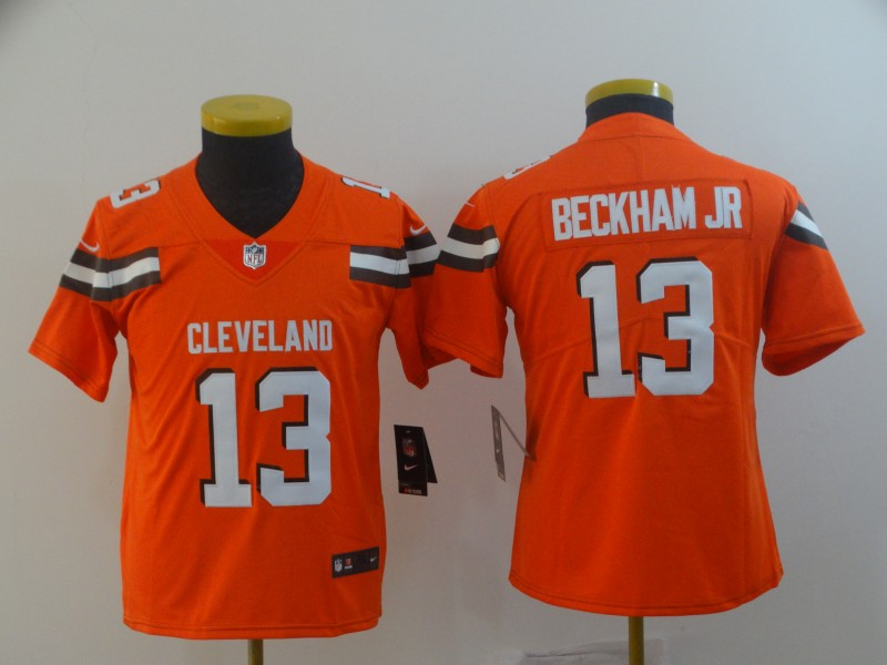 Nike Browns 13 Odell Beckham Jr Orange Youth Vapor Untouchable Limited Jersey