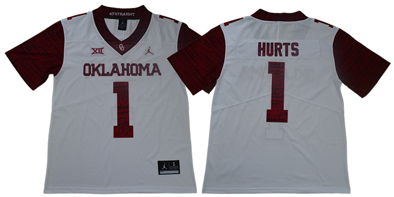 Oklahoma Sooners 1 Jalen Hurts White 47 Game Winning Streak College Football Jersey