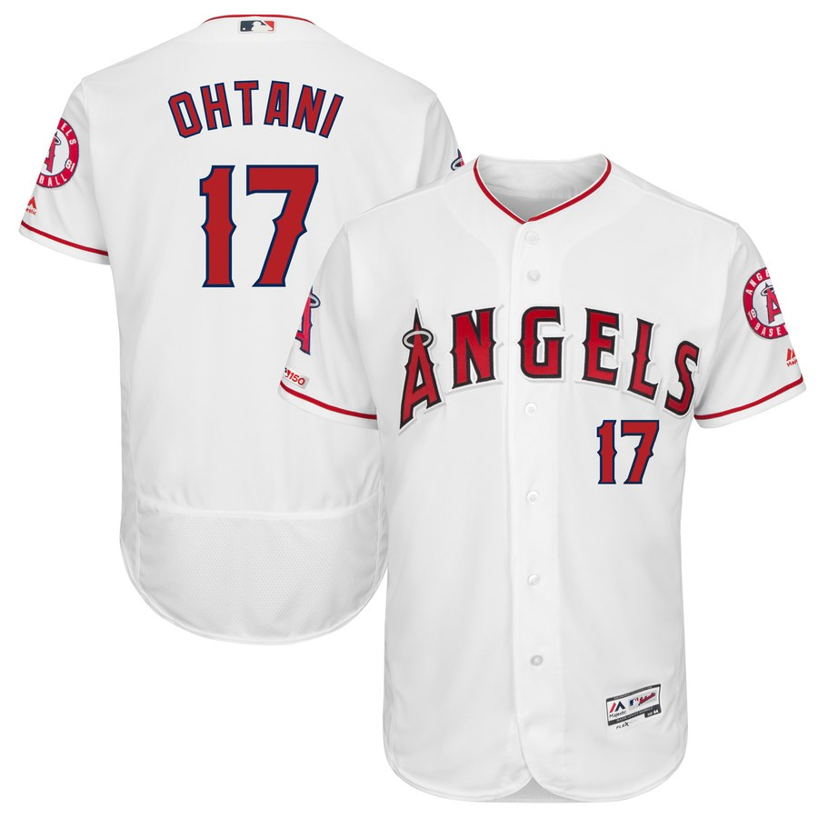 Angels 17 Shohei Ohtani White 150th Patch Flexbase Jersey
