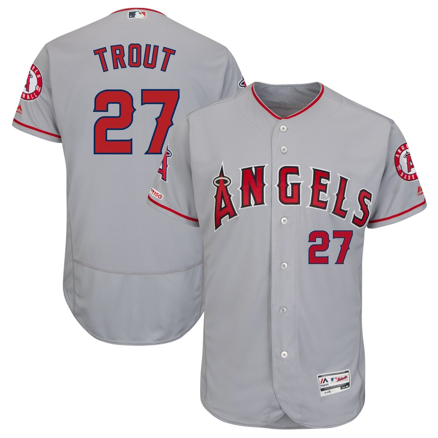 Angels 27 Mike Trout Gray 150th Patch Flexbase Jersey
