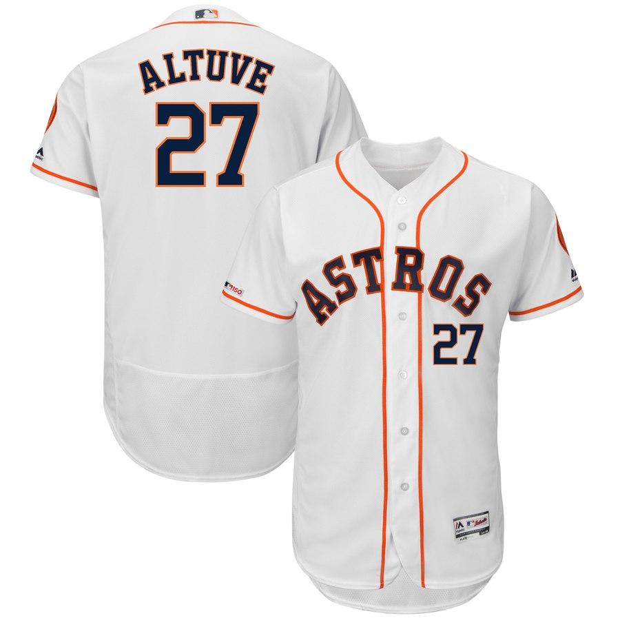 Astros 27 Jose Altuve White 150th Patch Flexbase Jersey